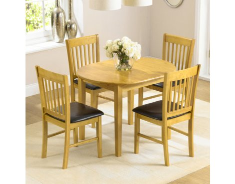 Alaska Solid Hardwood Dining Set with 4 Chairs