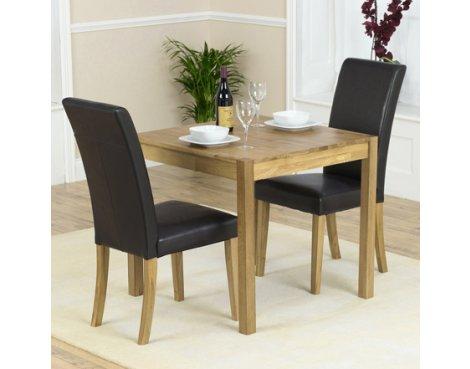 Mark Harris Promo/Atlanta Solid Oak & Black Dining Set with 2 Chairs