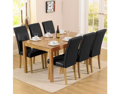 Mark Harris Solid Oak & Black Dining Set with 6 Chairs