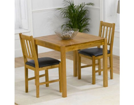 Mark Harris Promo Solid Oak & Black Dining Set with 2 Chairs