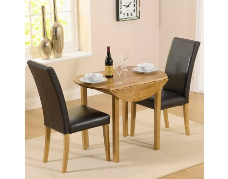 Solid Oak Promo Round Drop Leaf Table & 2 Black Chairs