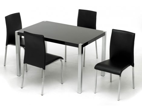 Charisma High Gloss Black Rectangular Dining Set
