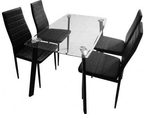 Abbey Dining Set - Clear Glass Table with 4 Black Chairs