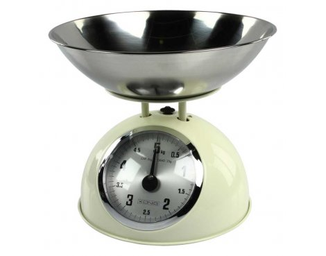 Creme Retro Kitchen Scale with Stainless Steel Bowl