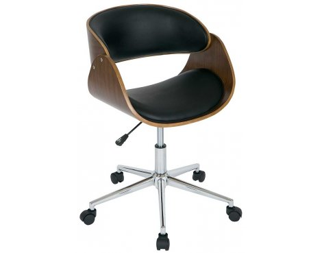 B GRADE Walnut and Black Height Adjustable Computer Chair