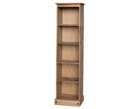 Core Products CR946 Classic Corona Tall Narrow 4 Shelf Bookcase - Rustic Pine