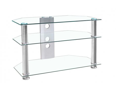 B GRADE MMT Jet Clear Glass Universal TV Stand for TVs up to 37""