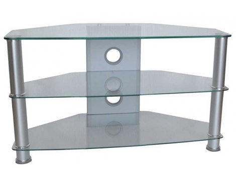 MMT Jet Clear Glass Universal TV Stand for TVs up to 37""