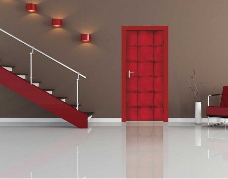 1Wall Padded Red Squares Door Mural