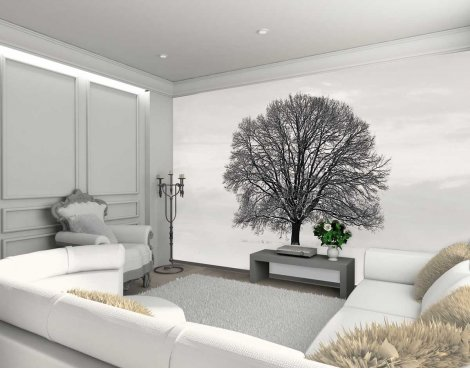 1Wall Giant Black and White Tree Wall Mural