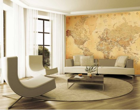 1Wall Giant Vintage Map Wall Mural