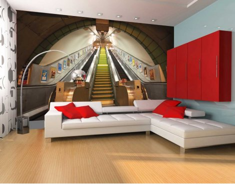 1Wall Giant London Underground Escalator Wall Mural