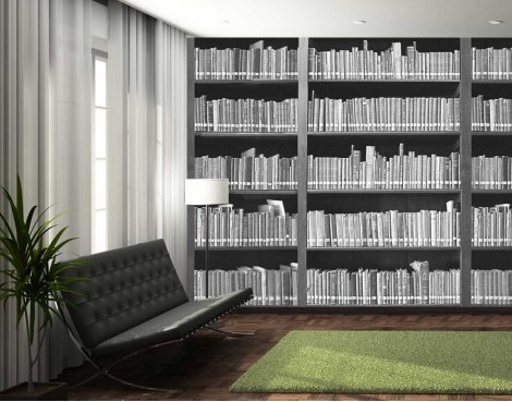 1Wall Giant Monochrome Bookshelf Wall Mural