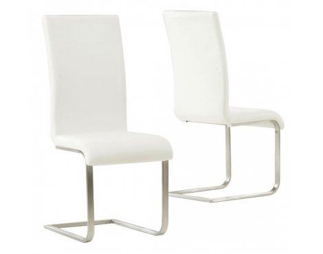 Mark Harris Malibu White PU Leather & Chrome Dining Chairs (Pair)