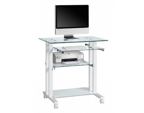 maja premium glass computer desk with white frame
