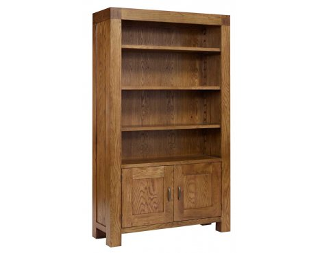 Rustic Grange Santana Rustic Oak Bookcase with Cupboard