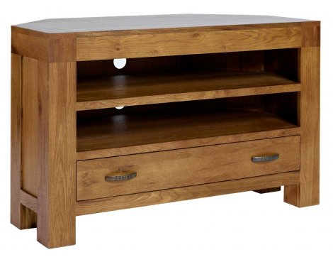"Rustic Grange Santana Rustic Oak Corner TV Stand for up to 50"" TVs"