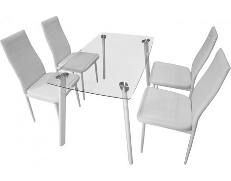 Abbey Dining Set - Clear Glass Table with 4 White Chairs