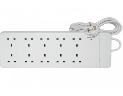 UK 10-way Mains Block with Extension Lead 2.0m