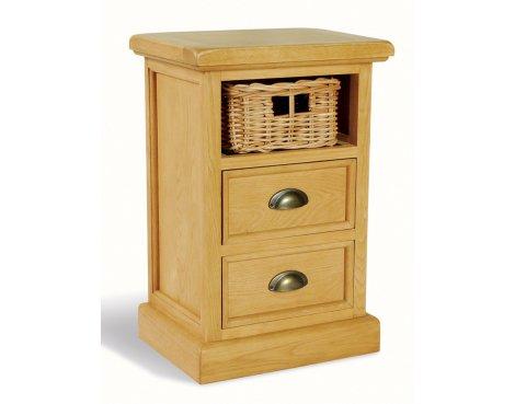 Ultimum Somerset Oak Side Table 2 Drawers 1 Basket