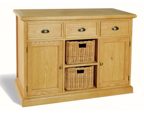 Ultimum Somerset Oak Sideboard 3 Drawers 2 Doors, 2 Baskets