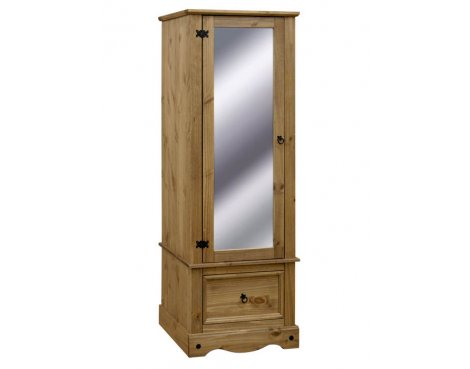 Core Products CR525 Classic Corona 1 Door Mirrored Wardrobe - Rustic Pine