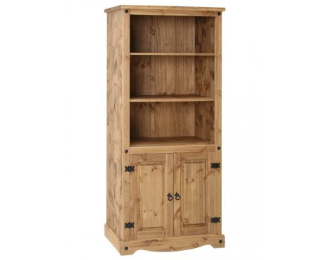 Core Products CR903 Classic Corona 2 Door 3 Shelf Bookcase - Rustic Pine