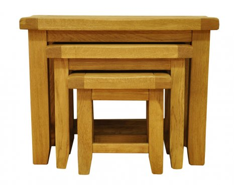Ultimum Highfield Solid Oak Nest of 3 Tables