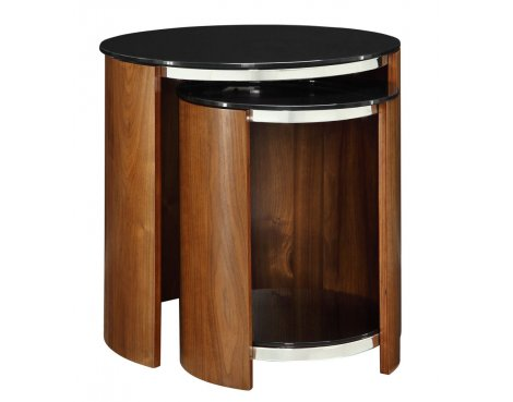Jual San Marino Walnut Glass Shelved Nest of Tables