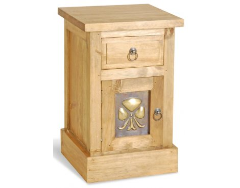 Ultimum Classic Pine Brass Panel Bedside Table