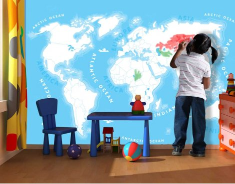 1Wall Kids World Map Wall Mural