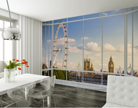 1Wall Giant London Window Skyline Wall Mural