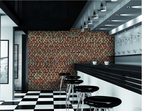 1Wall Red Brick Wall Mural