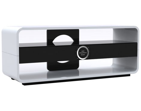 Somle SYMMETRY White Home Theater Cinema TV Stand Integrated Sound Bar