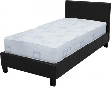 "ValuFurniture Prado 3\'0"" Single Black Faux Leather Bed"