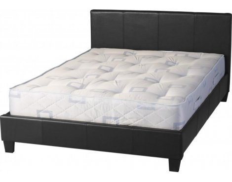 "ValuFurniture Prado 4\'6"" Double Black Faux Leather Bed"