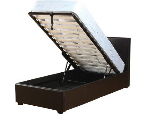 "ValuFurniture Prado 3\'0\"" Single Black Faux Leather Storage Bed"