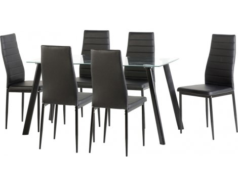 Large Abbey Dining Set - Clear Glass Table with 6 Black Chairs