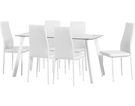 Large Abbey Dining Set - Clear Glass Table with 6 White Chairs