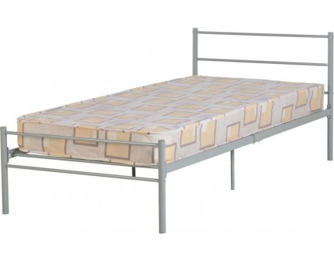 "ValuFurniture Devon 3\'0"" Single Bed in Silver"