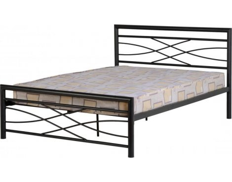 "ValuFurniture Kelly 4\'6"" Black Double Bed"