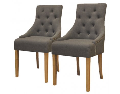 Baumhaus COR03F Oak Accent Upholstered Dining Chairs