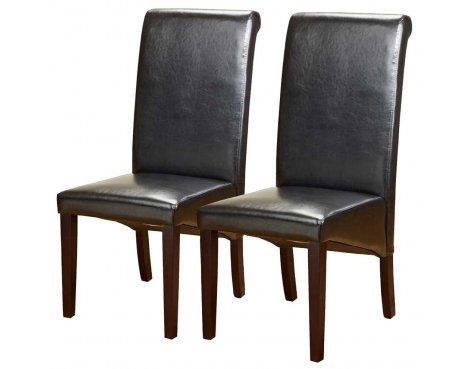 Pair of PU Leather Roll Back Chairs in Black