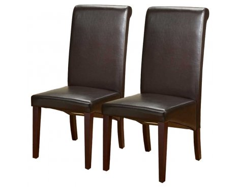 ValuFurniture Pair of PU Leather Roll Back Chairs in Brown