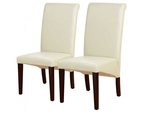 Pair of PU Leather Roll Back Chairs in Ivy