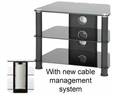 3 Shelf Glass TV Stand - All Black