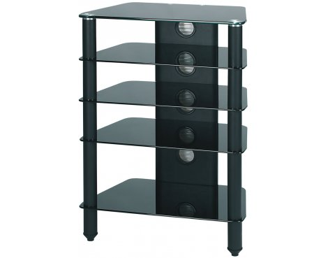 AV / LCD TV Stand Black Glass and Black Legs