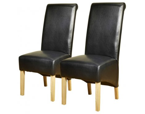 Pair of PU Leather High Scroll Back Chairs in Black