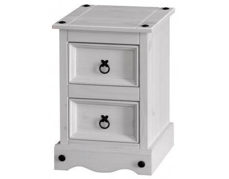 Core Products Corona White Washed CRW509 2 Drawer Bedside Table