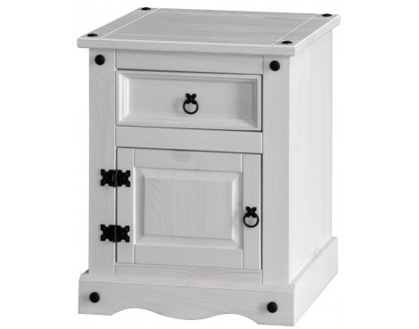 Core Products Corona White Washed CRW510 1 Drawer Bedside Table